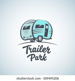 RV, Van or Trailer Park Vector Logo Template. Silhouette Tourism Icon. Label with Retro Typography. Isolated.