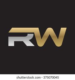 RW company linked letter logo golden silver black background