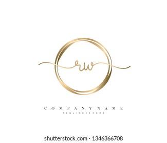 RW initial handwriting logo template vector