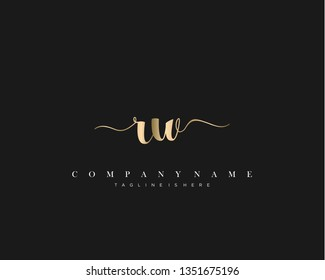 RW initial handwriting logo template with luxury color vector.