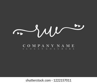 RW Initial handwriting logo vector