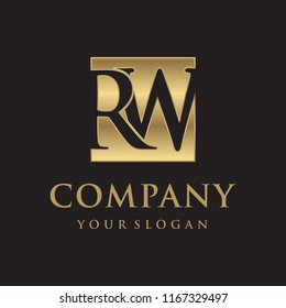 RW initial letters looping linked box elegant logo golden black background