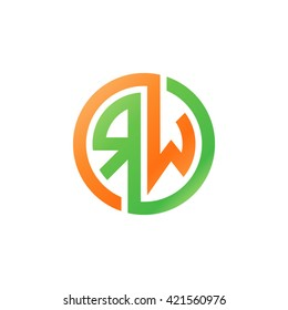 RW initial letters looping linked circle logo orange green
