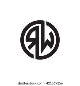 RW initial letters looping linked circle monogram logo