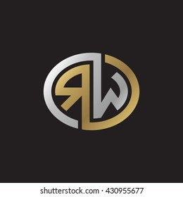 RW initial letters looping linked ellipse elegant logo golden silver black background