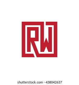 RW initial letters looping linked square logo red