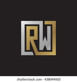 RW initial letters looping linked square elegant logo golden silver black background