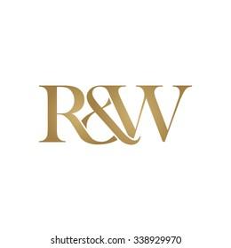 R&W Initial logo. Ampersand monogram golden logo