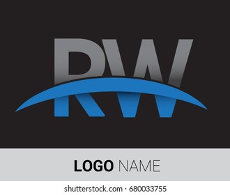 RW initial logo company name colored grey and blue swoosh design
