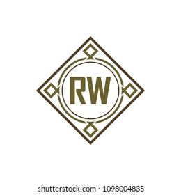 RW initial logo. Luxury ornament crown logo.