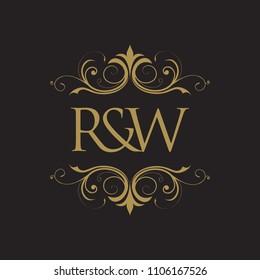 RW Initial logo. Ornament ampersand monogram golden logo black background