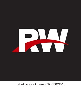 RW initial overlapping swoosh letter logo white red black background
