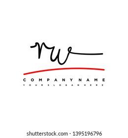 RW initial signature logo. handwriting logo template vector,
