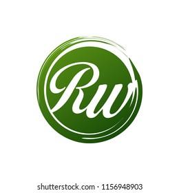 RW initial splash logo template vector