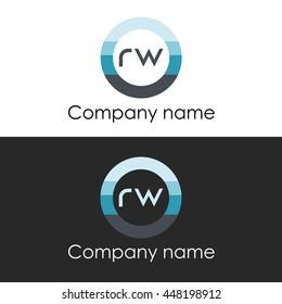 RW letter circle shape icon logo white blue