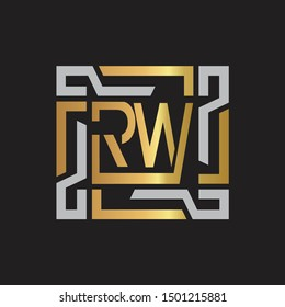 RW Letter logo initial capital monogram with abstract ornament