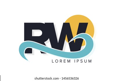 RW letter logo with ocean waves and sunset. Beach concept design