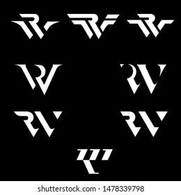 RW logo. letter based. monogram logo set simple modern and luxury monogram