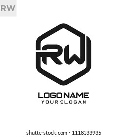 RW logo letter initial, Abstract polygonal Background Logo,