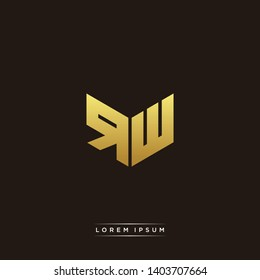 RW Logo Letter Initial Logo Designs Templete with Gold and Black Background