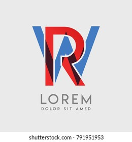 """RW logo letters with """"blue and red"""" gradation"""