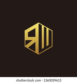 RW Logo Monogram with Negative space gold colors