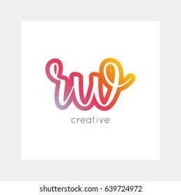 RW logo, vector. Useful as branding, app icon, alphabet combination, clip-art.