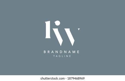 RW Lowercase Letter Initial Icon Logo Design Vector Illustration