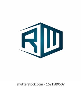 RW monogram logo with hexagon shape and negative space style ribbon design template
