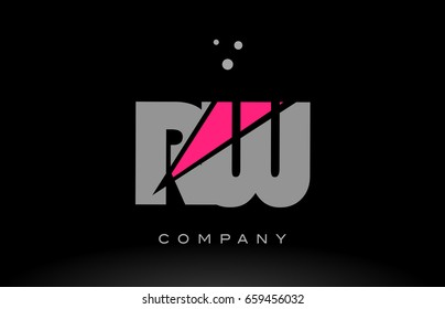 rw r w alphabet letter logo pink grey black creative company vector icon design template