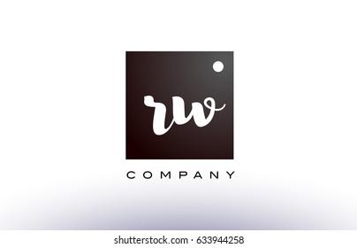 RW R W black white handwritten handwriting alphabet company letter logo square design template dot dots creative abstract