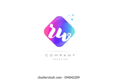rw r w  pink blue rhombus abstract 3d alphabet company letter text logo hand writting written design vector icon template