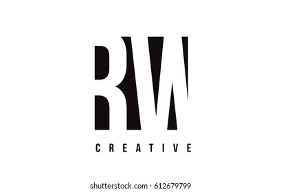 RW R W White Letter Logo Design with Black Square Vector Illustration Template.