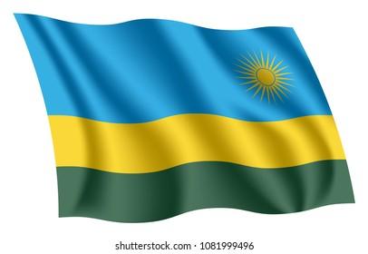 Rwanda flag. Isolated national flag of Rwanda. Waving flag of the Republic of Rwanda. Fluttering textile rwandan flag.