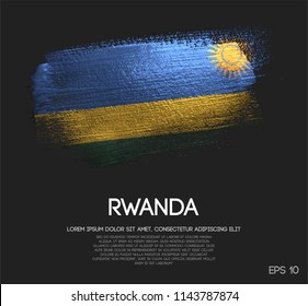 Rwanda Flag Made of Glitter Sparkle Brush Paint Vector
