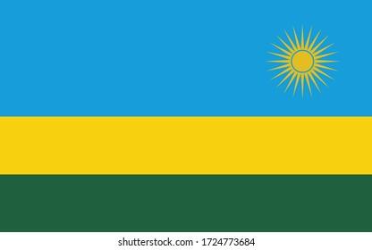 Rwanda flag vector graphic. Rectangle Rwandan flag illustration. Rwanda country flag is a symbol of freedom, patriotism and independence.