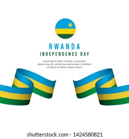 Rwanda independence day vector template. Design for banner, greeting cards or print.