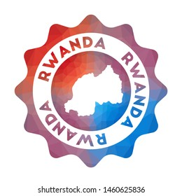 Rwanda low poly logo. Colorful gradient travel logo of the country in geometric style. Multicolored polygonal Rwanda rounded sign with map for your infographics.