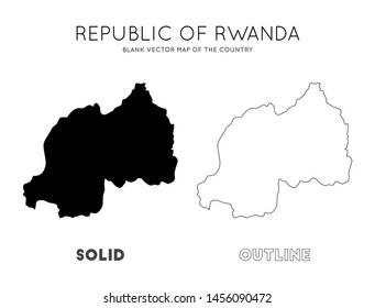 Rwanda map. Blank vector map of the Country. Borders of Rwanda for your infographic. Vector illustration.