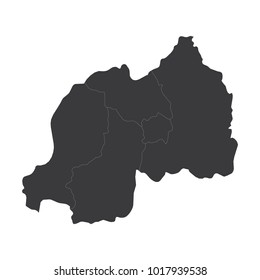 Rwanda map on white background vector, Rwanda Map Outline Shape Black on White Vector Illustration, High detailed black illustration map -Rwanda.
