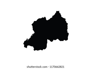 Rwanda outline map country shape