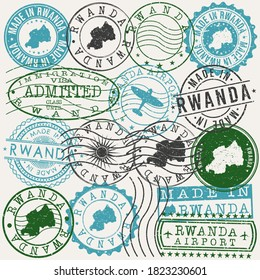 Rwanda Set of Stamps. Travel Passport Stamps. Made In Product Design Seals in Old Style Insignia. Icon Clip Art Vector Collection.
