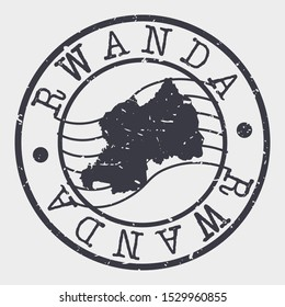 Rwanda Stamp Postal. Map Silhouette Seal. Passport Round Design. Vector Icon. Design Retro Travel.