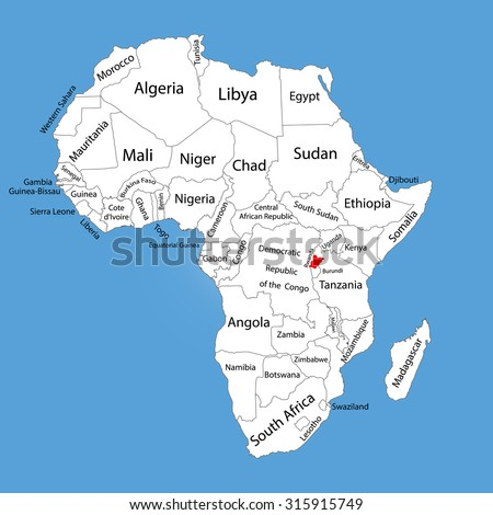 Rwanda Vector Map Silhouette Isolated On Stock Vector (Royalty Free ...