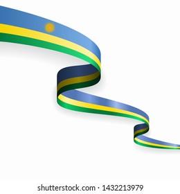 Rwandan flag wavy abstract background. Vector illustration.