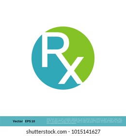 RX Letter Medical Icon Vector Logo Template