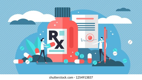 RX medical prescription drug vector illustration. Flat mini persons concept with patient, pills, capsules, drugs and doctor. Disease therapy medicament sold by pharmacist. Pharmacy control of business
