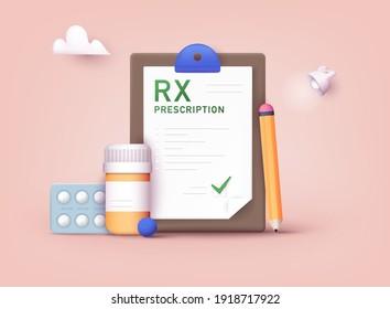 RX medical prescription drug vector illustration. Doctors and pills. Vector rx prescription. 3D Web Vector Illustrations.