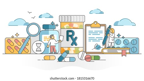 RX as medication pills prescription for treatment from doctor outline concept. Drugs, capsule or antibiotic as painkiller cure or medicine dose for disease vector illustration. Receipt for apothecary.