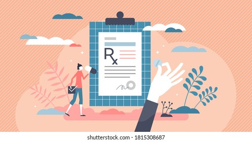 RX as medication prescription as treatment from doctor tiny persons concept. Drugs, pills, capsule or antibiotic as painkiller or medicine dose for disease vector illustration. Receipt for apothecary.